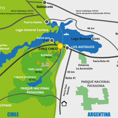 Routes and connections in Chile Chico - Patagonia National Park Chile.